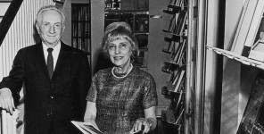 Sandy and Bernice Bienenstock stand in the original book store at the Bernice Bienenstock Furniture Library. Mr. Bienenstock began this collection in 1922. 90 years later, it is the preeminent resource for information, illustration and inspiration.