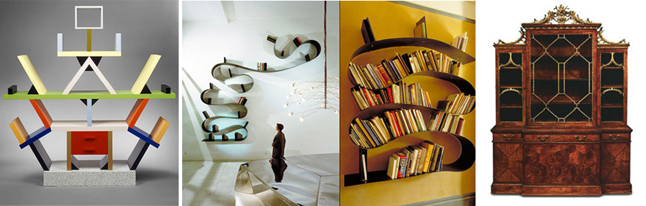 E Sottsas: Carlton Room Divider, Ron Arad: Bookworm, Chippendale Rosewood Bookcase
